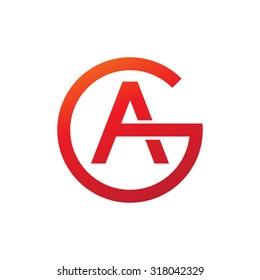 AG GA initial company circle G logo red