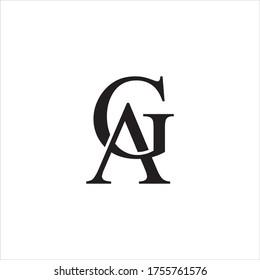AG or GA letter logo design vector.