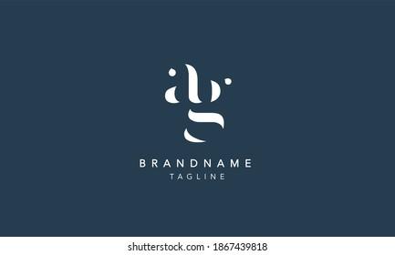 ag ga Lowercase Letter Initial Logo Design Template Vector Illustration
