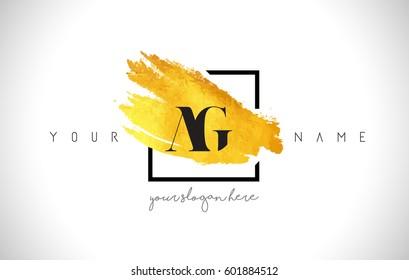 AG Golden Letter Logo Design with Creative Gold Brush Stroke and Black Frame.
