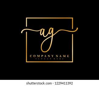 AG Initial handwriting square minimalist logo vector