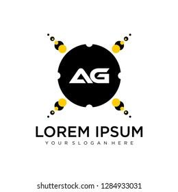 AG initial logo template vector