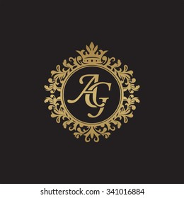 AG initial luxury ornament monogram logo