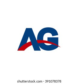 AG initial overlapping swoosh letter logo blue red