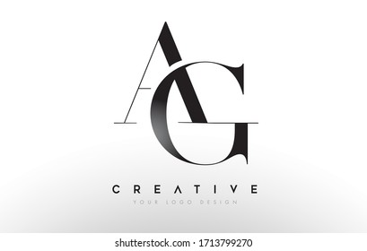 AG ag letter design logo logotype icon concept with serif font and classic elegant style look vector illustration.