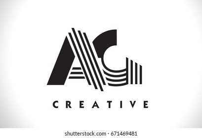 AG Letter Logo With Black Lines Design. Line Letter Symbol Vector Illustration