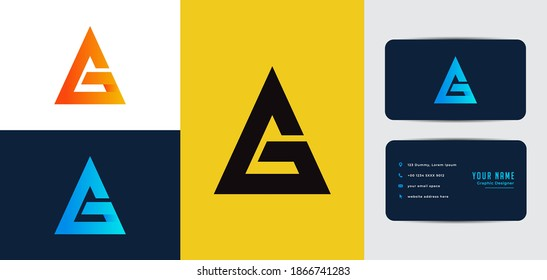 ag letter logo with business card