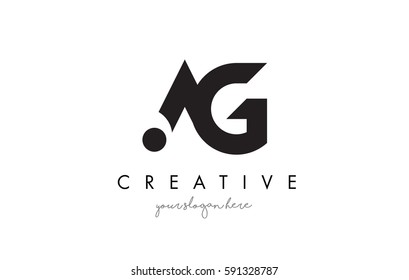 AG Letter Logo Design with Creative Modern Trendy Typography and Black Colors.