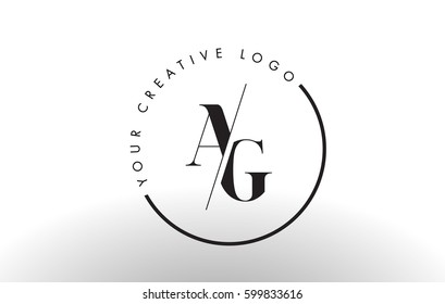 AG Letter Logo Design with Creative Intersected and Cutted Serif Font.