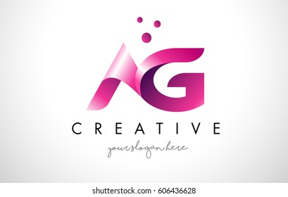 AG Letter Logo Design Template with Purple Colors and Dots