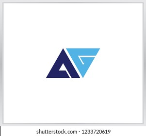AG letter logo template. initial blue triangle logo AG with a white background