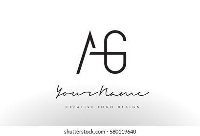 AG Letters Logo Design Slim. Simple and Creative Black Letter Concept Illustration.