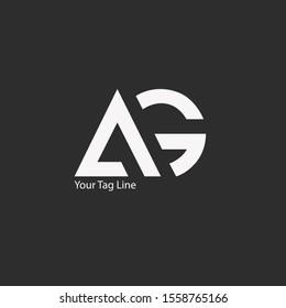 AG logo design, Letter AG geometric logo design.