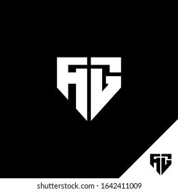 AG logo design, Letter AG geometric logo on shield. Logo for game, community or business.