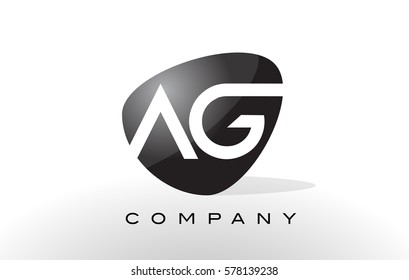 AG Logo. Letter Design Vector with Oval Shape and Black Colors.