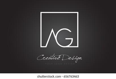 AG Square Framed Letter Logo Design Vector with Black and White Colors.