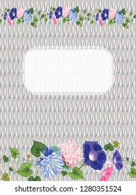 Against the background of knitted linen web space for text and a garland of asters, bindweeds and leaves intertwined, vector