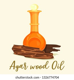 Agarwood oil at glassware bottle. Agar wood and chops. Natural aloeswood or organic gharuwood for islamic incense or perfume. Oud oil or muslim, arab cosmetic in jar. Fragrance and arabic theme
