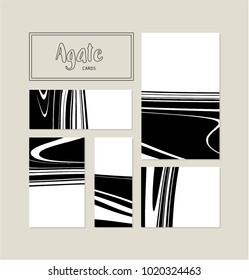 Agate or marble streaks vector card set. Black and white.Birthda
