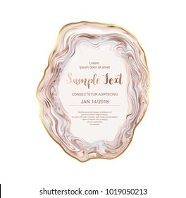 Agate slice gemstone background with gold border. Crystal blush quartz frame. Natural stone texture. Vector template for holiday designs, invitation, card, wedding, save the date, anniversary.