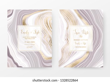 Agate slice gemstone celebration card with gold natural stone texture.