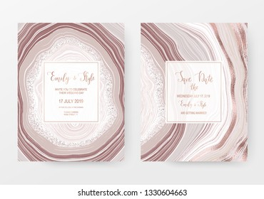 Agate slice gemstone wedding card with rose gold natural stone texture.