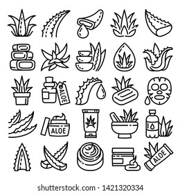 Agave icons set. Outline set of agave vector icons for web design isolated on white background