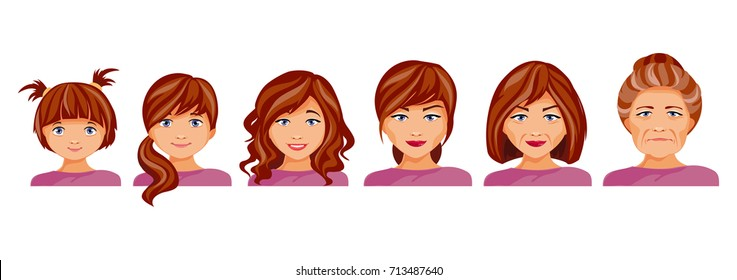 Age categories of women. Childhood, adolescence, adolescence, maturity and old age. The aging process. Vector illustration
