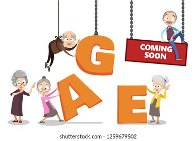 Age coming soon poster vector illustration. Template with cartoon old women and men adding inscription with big letters. Retirement and planning savings concept