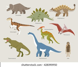 Age of Dinosaur , various kinds of dinosaurs vector illustration