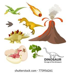 Age of dinosaurs banner with prehistoric predators t-rex, tyrannosaurus, pterodactyl,