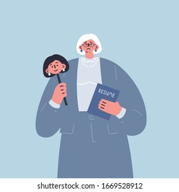 Age discrimination.Senior woman holds resume and mask of her young face to hide her age.Employment problem of seniors.Ageism social problem,stop ageism.Cartoon character.Colorful vector illustration.