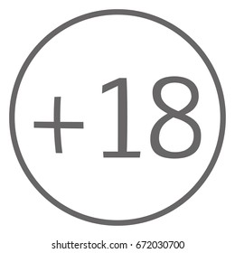 age limit +18 in circle grey color icon vector eps10. age limit +18 sign on white background.