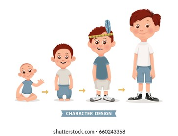 Age measurement of growth boy. Vector illustration. Stages of development.
