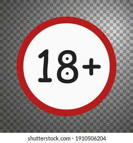 Age restriction sign 18 plus. Stylish vector emblem for adult materials.