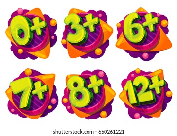 Age restrictions for children's games and movies. Signs from 0, 3, 6, 7, 8 years. Set cartoon vector illustrations of figures with abstract elements of figures by balls with triangles of clouds.