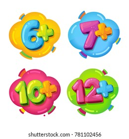 age restrictions. vector children`s set of colored cartoon figures on isolated background