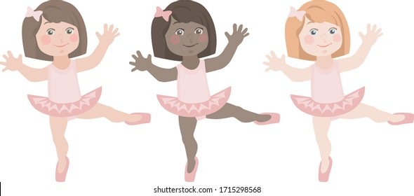 age of three little girls ballerinas of razkhnyh nationalities and skin colors who dance in pink tutu skirts and pointe shoes the same group dance. stock isolated illustration on white background