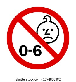 Age warning sign. Not for children under 6 years of age