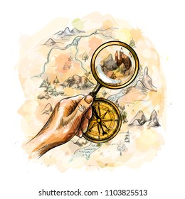 Aged antique nautical compass and hand holding magnifying glass with treasure map from a splash of watercolor, hand drawn sketch. Vector illustration of paints