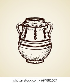 Aged assyrian culture bowl container isolated on white backdrop. Freehand outline ink hand drawn object icon sketchy in vintage art etching graphic style pen on paper. Closeup view with space for tex