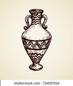 Aged assyrian culture bowl container isolated on white backdrop. Freehand outline ink hand drawn object icon sketchy in vintage art etching graphic style pen on paper. Closeup view with space for text