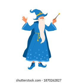 Aged bearded mage conjure with magic wand. Portrait of old magician practicing wizardry. Cute wise sorcerer in magical costume. Flat vector cartoon illustration of funny wizard isolated on white