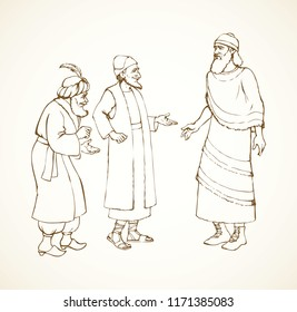 Aged bearded noble babylonia chaldean in middle east sumer semitic Aramean judaic attire: linen tunic, old hat, boots with laces. Line ink hand drawn phoenician talk picture in retro engraved style