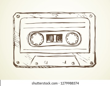 Aged casette design on white backdrop. Freehand outline black ink hand drawn pop audiocassette object logo pictogram sketchy in rock doodle style pen