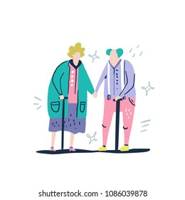 Aged couple with sticks. Grandparents on a white background. Handdrawn vector illustration in a flat style.