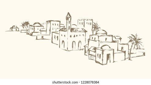 Aged eastern turkey orient desert sand palm oasis scene view with retro stone dwelling on white sky. Line black ink hand drawn judaic picture sketch in vintage engraved graphic style on place for text