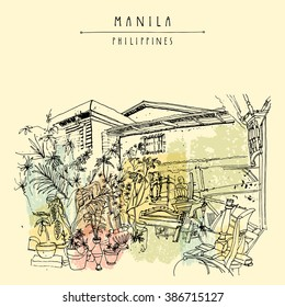 An aged guesthouse with a vintage art shop in the old part of Manila, Philippines, Asia. Hand drawn vintage postcard or poster template in vector