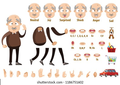 Aged man in brown sweater and pants. Creation pack with various facial emotions, hand gestures, lips, arm and leg elements. Funny bald grandfather constructor for custom animation vector illustration