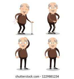 Aged man with walking cane personages. Happy, neutral and sad grandfather wearing brown sweater and pants. Funny senior man cartoon animated set. Old male patient with leg pain vector illustration